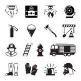 Schwarze Ikonen des Feuerwehrmanns vektor abbildung