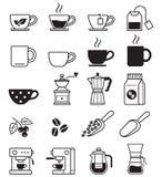 Schwarze Ikonen des Kaffees Photorealistic Ausschnittskizze vektor abbildung