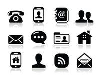 Schwarze Ikonen des Kontaktes stellten - Mobile, Benutzer, eMail ein stock abbildung