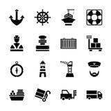 Schwarze Ikonen des Seehafens eingestellt mit Schiffen und Seetransport lokalisierter Vektorillustration lizenzfreie abbildung