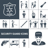Schwarze Ikonen des Sicherheitsbeamten eingestellt Lizenzfreies Stockfoto