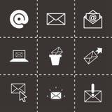 Schwarze Ikonen des Vektors E-Maileingestellt Lizenzfreies Stockfoto