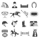 Schwarze Ikonen eingestellt mit Pferdeausrüstung Stockbilder