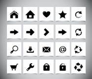 Schwarze Ikonen für Netz Stockfotos