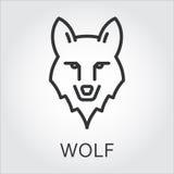 Schwarze Ikonenartlinie Kunst, Hauptwolf des wilden Tieres Stockbilder