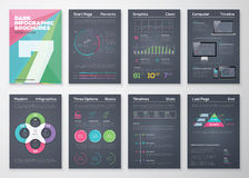 Schwarze infographic Schablonen in der Geschäftsbroschürenart Stockfoto