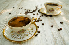 Schwarze Kaffeetassen 4 Stockfotos