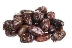 Schwarze Kalamata-Oliven Stockfoto