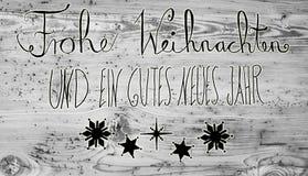 Schwarze Kalligraphie Gutes Neues bedeutet guten Rutsch ins Neue Jahr Lizenzfreies Stockbild