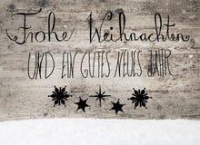 Schwarze Kalligraphie Gutes Neues bedeutet guten Rutsch ins Neue Jahr, Schnee Lizenzfreie Stockfotografie
