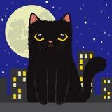 Schwarze Karikatur-Katze in der Stadt lizenzfreie abbildung