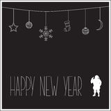 Schwarze Karte des neuen Jahres mit weißem Schattenbild von Santa Claus und von Text Auch im corel abgehobenen Betrag Stockfotografie