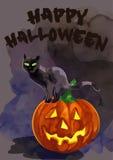 Schwarze Katze auf einem Kürbis Glückliches Halloween Lizenzfreie Stockfotografie