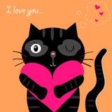 Schwarze Katze der Liebe Lizenzfreie Stockfotografie