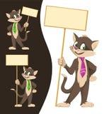 Schwarze Katze der lustigen Karikatur in einer Bindung, die leere Fahnen hält Stockfotos