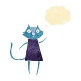 schwarze Katze der netten Karikatur, die mit Gedankenblase wellenartig bewegt Lizenzfreie Stockbilder