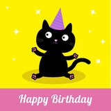 Schwarze Katze der netten Karikatur mit Hut. Glückliche Geburtstagsfeierkarte. Lizenzfreie Stockfotos