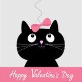 Schwarze Katze der netten Karikatur mit rosa Bogen. Glückliche Valentinsgruß-Tageskarte. Stockfoto