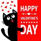 Schwarze Katze, die großes Schild hält Oben schauen zu den Herzen Lustige Kätzchenmiezekatze der netten Karikatur, die hinter Pap stock abbildung