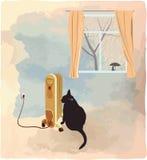 Schwarze Katze, die nahe der Heizungsvektorillustration sich aalt Lizenzfreie Stockbilder