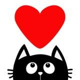 Schwarze Katze, die oben zum großen roten Herzen schaut Nette Zeichentrickfilm-Figur Kawaii-Tier Lieben Sie Grußkarte Glücklicher Lizenzfreies Stockbild