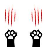 Schwarze Katze, die Pfotenabdruckbein-Fußsatz verkratzt Kratzer-Kratzenbahn der blutigen Greifer tierische rote Nettes Zeichentri Lizenzfreie Stockfotografie