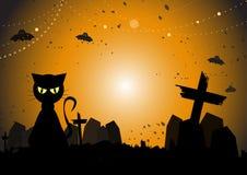 Schwarze Katze am Halloween-Tag Lizenzfreie Stockfotografie