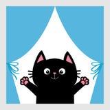 Schwarze Katze im Fenster Vorhang mit Bogen Öffnen Sie Handpfotenabdruck Miezekatze, die für eine Umarmung erreicht Lustiges Kawa Stockfotografie