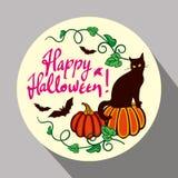 Schwarze Katze, Kürbis und Hand gezeichneter Text u. x22; Glückliches Halloween! u. x22; Stockfoto