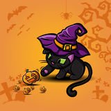 Schwarze Katze und Kürbis Halloweens  stock abbildung