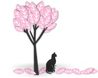 Schwarze Katze unter Baum Stockbild