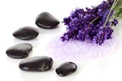 Schwarze Kieselsteine und Lavendelblumen Stockfoto