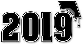Schwarze Klasse von 2019 mit Staffelungs-Kappe Stockfoto