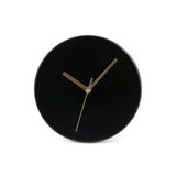 Schwarze kleine einfache runde Wanduhr - Uhr lokalisiert auf weißem Hintergrund Stockfotografie