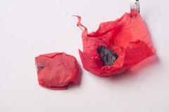 Schwarze Kohle im roten Papier Stockbild