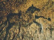 Schwarze Kohlenstoffpferde auf Sandsteinwand Farbe von Jagd, prähistorisches Bild Stockbilder
