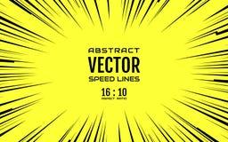 Schwarze komische Radialgeschwindigkeit zeichnet auf gelbem niedrigem 16:10 Lizenzfreies Stockfoto
