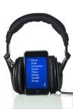Schwarze Kopfhörer und MP3-Player Lizenzfreie Stockfotografie