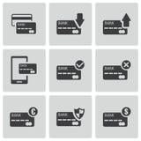 Schwarze Kreditkarteikonen des Vektors eingestellt Stockbild