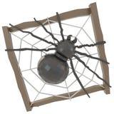 Schwarze Kristallspinne in einem hölzernen Nest (3D) Lizenzfreies Stockfoto