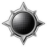 Schwarze Kugel innerhalb des Stahlkompassses Stockfotos