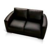 Schwarze lederne Couch Stockbilder