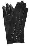 Schwarze lederne Handschuhe der Frauen Stockfotografie
