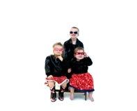Schwarze lederne Kinder Stockfotos