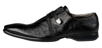 Schwarze lederne männliche Schuhe Stockbild