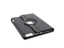 Schwarze lederne Tablet-Computer-Tasche auf einem Weiß Stockfotografie