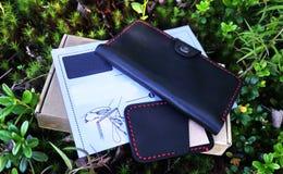 Schwarze Lederwaren Details und Nahaufnahme stockbild