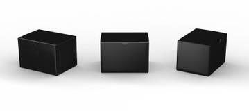 Schwarze leere Kastenverpackung mit Beschneidungspfad Stockbilder