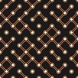 Schwarze Leiterplatte mit orange Verbindungsstückvektor electroscheme nahtlosem Muster stock abbildung