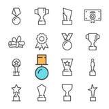 Schwarze Linie des Vektors spricht die eingestellten Ikonen zu Schließt solche Ikonen wie Schale, Medaille ein Stockfoto